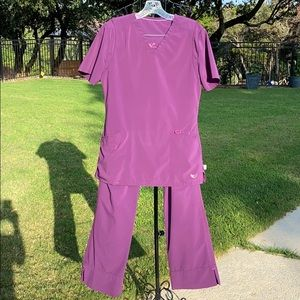 Smitten eggplant colored scrubs